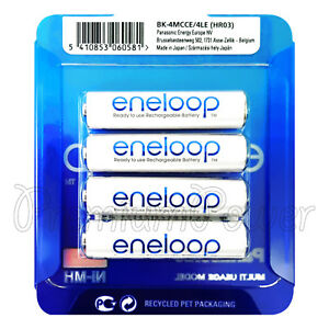 4 x Panasonic eneloop AAA 750 mAh batteries BK-4MCCE NiMh Rechargeable Accu HR03