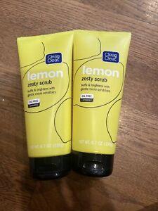 CLEAN & CLEAR Lemon Zesty Scrub Vitamin C Brightens Skin 6.7 oz EA- Lot of 2