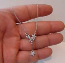 DANGLING FLOWER NECKLACE PENDANT W/ LAB DIAMONDS/ 925 STERLING SILVER / 18''