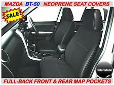 MAZDA BT-50 MK1 FULL-BACK FRONT & REAR NEOPRENE SEAT COVERS WITH MAP POCKETS X 2
