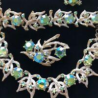 Juliana Peridot Green Rhinestone AB Aurora Borealis Necklace Brooch Jewelry Set