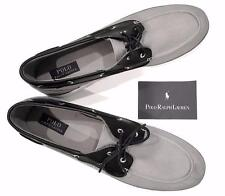 Polo Ralph Lauren Men 17 NEW Sneaker Gray canvas black leather Boatshoe Rylander
