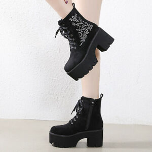 Women Suede Round Toe Embroidery Platform Goth Shoe Block Heels Punk Ankle Boots