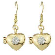 VINTAGE Style Oro Medaglione a Cuore Aperto Goccia Dangle Earrings e1079