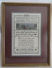 Sampler Framed Cross Stitch Custom Design Village Prayer Alphabet Numbers Hearts