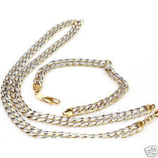 2 Tone Necklace+Bracelet Set 18k Gold Filled Curb Chain Mens Jewelry
