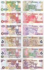 Zambia 20 + 50 + 100 + 500 + 1000 + 5000 Kwacha Set Of 6 Banknotes 6 PCS UNC