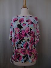 Style & Co Petite Flutter Sleeve Side Tie Top Floral Print PM #2458