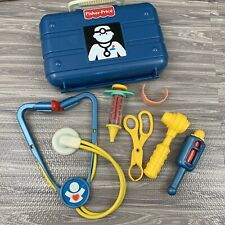 Fisher Price Medical Kit Doctor Nurse Pretend Play Blue Plastic Case