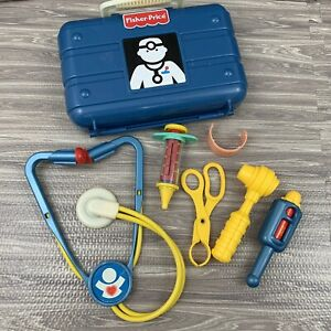 Vintage Fisher Price Doctor Medical Kit Nurse Pretend Play Blue Plastic Case