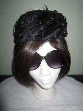 Vtg ladies' pillbox style hat embellished w black velvet leaves & black feathers