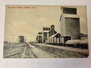 Vintage The Grain Elevators, Bowbells, North Dakota. Train Cars 1912 Post Card.