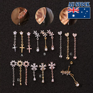 Elegant 1pc Mini Stone Huggie Bar Ear Tragus Helix Piercing Post Earring Gift