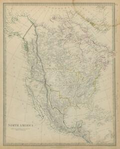 TEXAS REPUBLIC North America. Mexican California. Russian America. SDUK 1844 map