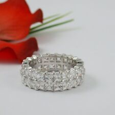 12 CARAT DOUBLE PRINCESS ETERNITY RING CUBIC ZIRCONIA SIZE 5 6 7 8 9 10 FREE BOX