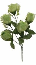 5 Roses Sage Green Wedding Centerpieces Bridal Bouquet Silk Flowers Sheer Petals