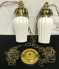 MID CENTURY TWO SWAG CHAIN PENDANT CEILING LIGHT WHITE MILK GLASS RIBBED SHADE