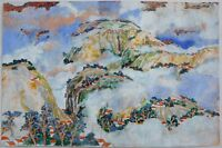 H. Y. (PETER) HSU CONTEMPORARY CHINESE GOUACHE MOUNTAIN CLOUD VILLAGE SCENE