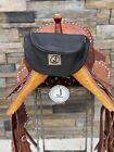 Pommel Bag Leather Handmade, Saddle Sak,Pommel Pocket, Black LG, Trail Bag