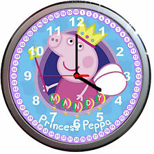 Princess Peppa Wall Clock  Kids Bedroom Girl gift Peppa Pig Can be personalised