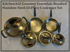 [USED] KitchenAid Gourmet Essentials Brushed Stainless Steel 10pc Cookware Set