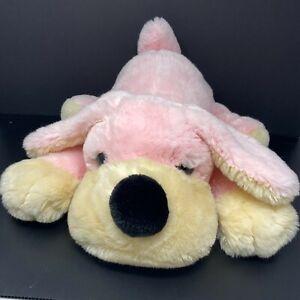 "FAO Schwarz Fifth Avenue Pink Dog Tan Face Plush Penelope Pup 20"" Large Stuffed"