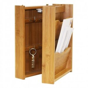 Wooden Letter Rack Mail Organizer Hidden Key Box Cabinet Entry Wall Mount Bamboo