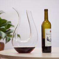 Decanter U-Shape Hand Blown Luxurious Crystal Glass Pourer Wine Carafe 1500ml