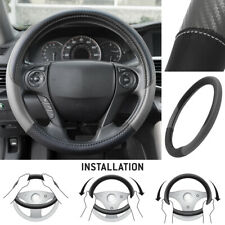 Motor Trend MaxGrip PU Leather Car Steering Wheel Cover Black/ Gray