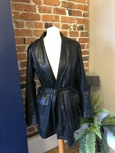 ZARA Black Faux Leather Belted Jacket Blazer MEDIUM BNWT Bloggers