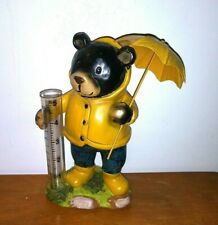 "Rain Gauge Teddy holding umbrella with 5"" Rain Collector very cute and pretty Eu"