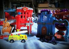 Mattel Matchbox 2005 Fire Station+ Engine and 2004 Haunted Castle +spooky van