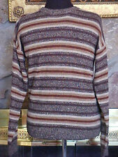 Arrow Mens Sweater Size S Brown Stripes Ramie Acrylic Round Neck Long Sleeve