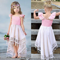Toddler Baby Girls Kids Backless Party Lace Tassel Princess Dress Outfit Clothes