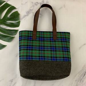 Punctuate Barnes & Noble Green Blue Plaid Tote Bag New Academia Matching Pouch
