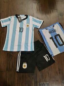 NEW Shorts Shirt Bag Set Messi Youth Size 26 #10 NWT Stained shirt AFA Argentina