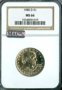 1980-D SBA DOLLAR NGC MAC MS66 PQ  SPOTLESS  .