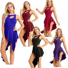 Adult Women Ballet Dance Leotard High Low Sleeveless Dress Gymnastics Unitards