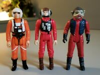 Vintage Star Wars Pilot lot of 3 Luke, Nien Numb and B-Wing pilot Kenner