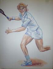 Loth Jean Rodophe dessin au crayon sur papier signé sport tennis Roland Garros