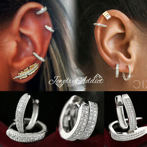 18K GOLD GF EAR CARTILAGE HELIX LADIES MENS SMALL DIAMONDS HOOP SLEEPER EARRINGS
