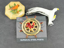 Lot Of 3 Bird Pins 1 Gold Tone Ship's Wheel W/ Rooster, 1 Seagull, 1 Cardinal