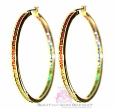 "Women Gods Promise 2"" Hoop Rainbow Cubic Zirconia Glam Earrings Gala Gold Plated"