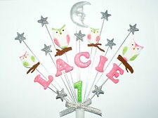 Any name and age owl, moon and star  birthday cake topper