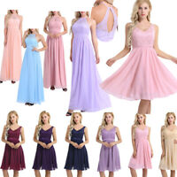 Women Chiffon Evening Formal Cocktail Party Gown Prom Bridesmaid Maxi Mini Dress