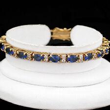 "7"" Simulated SAPPHIRE & DIAMOND 14k GOLD GL TENNIS Ladies Bracelet   GUARANTEE"