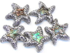 5 - 2 HOLE SLIDER BEADS ANTIQUED SILVER PLATED ABALONE SEA SHELL STARFISH BEADS
