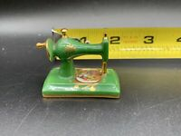 Vintage LIMOGES France Green / Gold PORCELAIN SEWING MACHINE Miniature