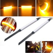 New 2X Amber Motorcycle Fork Turn Signals Light LED Strips For Clean Custom Look