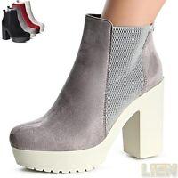 Damenschuhe Plateau Stiefeletten Ankle Boots Booties Stiefel Pumps Blockabsatz